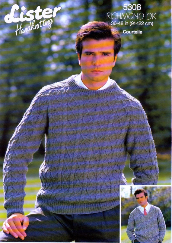 34930a2a481bc PDF Vintage Knitting Pattern. Men s Cable Knit Jumper in