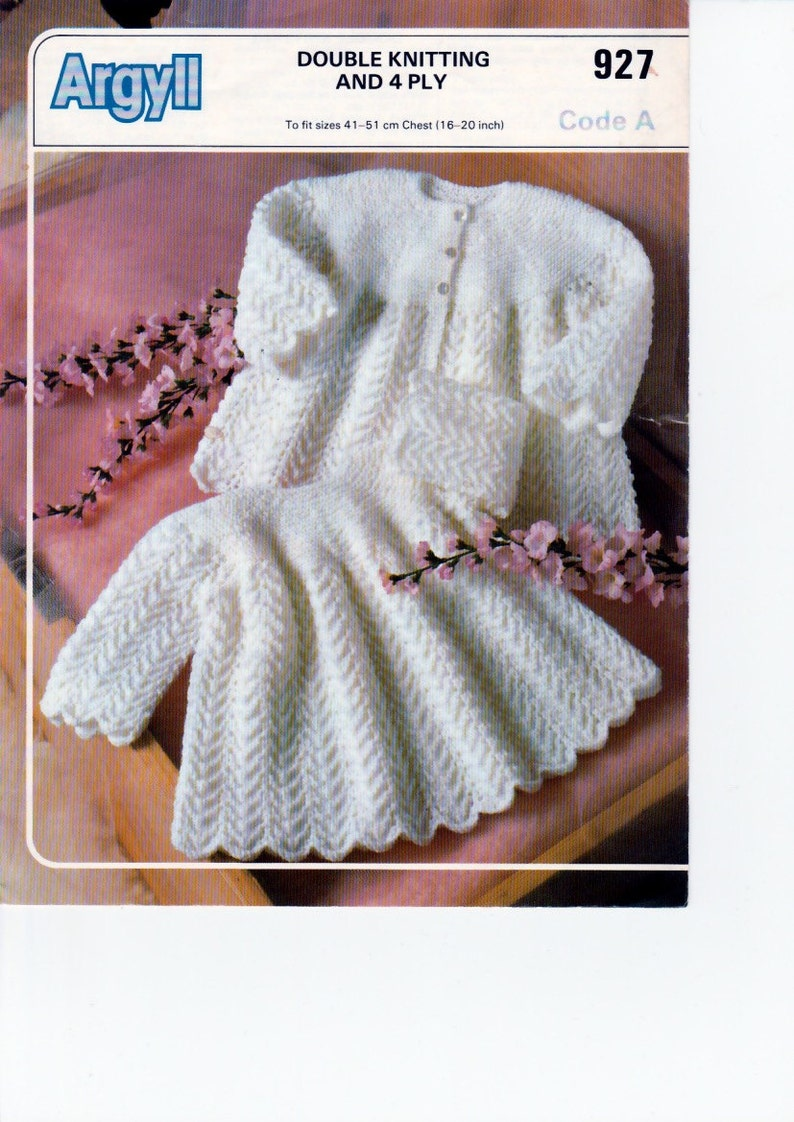 f084ac102e25 PDF Vintage Knitting Pattern. DK Matinee Coats for Baby   4
