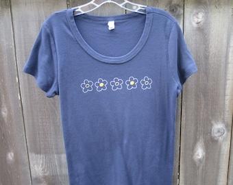 Women's Whimsical Flowers Scoop Neck T-Shirt