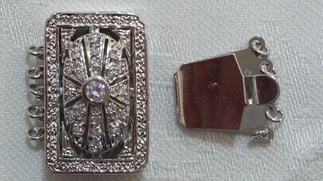 Fermoir en laiton de la boîte, boîte, la Rectangle, or blanc de 18 carats plaqué, 5 brins ebfcd1