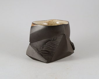 """Black Clay Guinomi or Espresso Cup """"Discovery"""" by Mikhail Tovstous."""