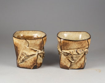 """Set of two black Clay Guinomi or Espresso Cups """"Discovery"""" by Mikhail Tovstous."""