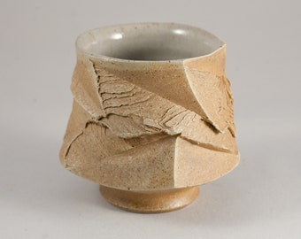 """Wabi Sabi Yunomi Japanese Styled  Faceted Handcut Tea Bowl or Coffee Cup, """"Discovery"""" Tea Cup  by Mikhail Tovstous"""