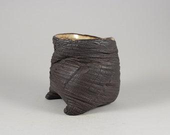 "Dark Brown ""Lava"" Guinomi, Yunomi or Coffee Cup by Paul Fryman"