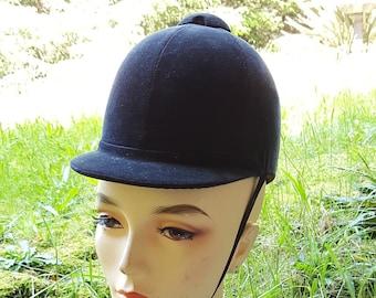 c44c9134702bc Vintage Equestrian Riding Hat Black Velvet
