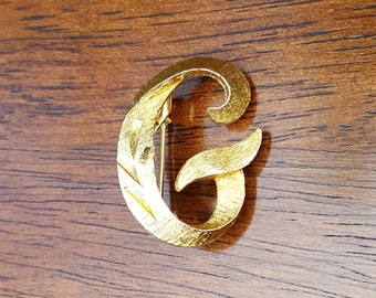 G Initial Brushed Gold Plated Brooch by Mamselle