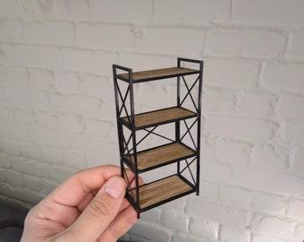 Modern dollhouse wide rack shelf / dolls furniture / modern loft rack for dolls 1:12
