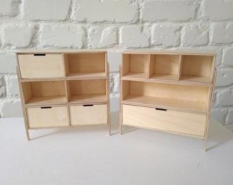 Dollhouse modular rack shelving and dresser / modern modular furniture 1/6 handmade / Blythe Barbie Momoko