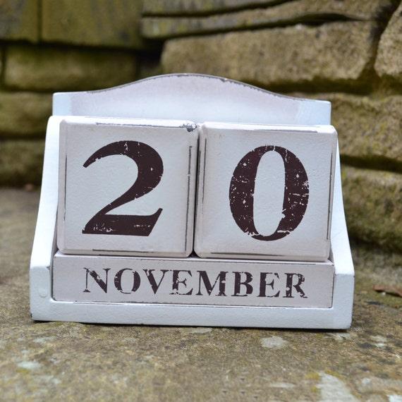 d6df90fbcc7d 2018 Calendar, Wood Block Perpetual Calendar Blocks, Desk Calendar, Rustic  Country Style Wooden Blocks, Shabby Chic Calendar Bricks