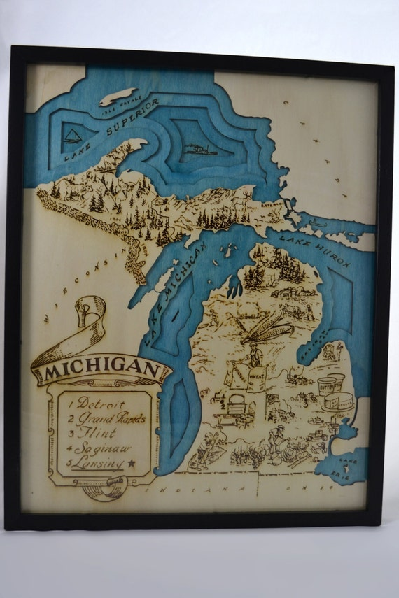 Michigan Topographic Wood Chart Topographic Map Wall Art | Etsy