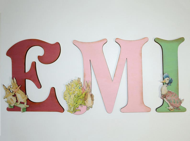 Peter Rabbit For Girl's Nursery Wall, Wooden Letters, Beatrix Potter  Personalised Decoration, Vintage Storybook Prints, Pink Nursery Letters