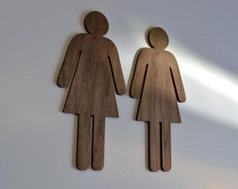 Male Female Bathroom Sign, Man, Woman, WC Sign, Walnut Wood