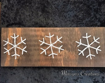 3 Snowflakes String Art Sign | READY TO SHIP