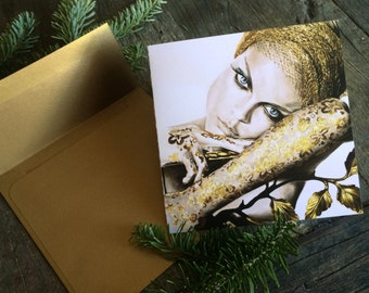 Fashion illustration holiday card.  Print of original illustration on semi-gloss, bi-fold card, gold envelope included.