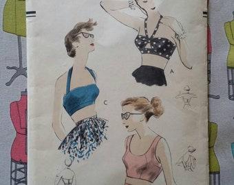 Vintage Vogue 7385, 1951 Beach Bras, Bustier, Crop Top, Bikini Top, Halter Top, Size 14, bust 32. UNPRINTED PATTERN.