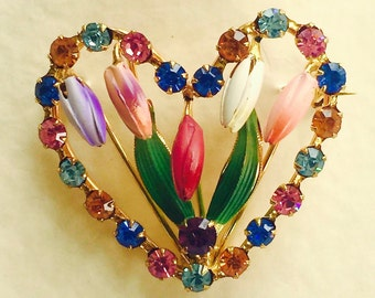 Vintage Brooch Pin 1940's Painted Enamel Tulips and Multi Color Rhinestone Heart New Old Stock