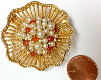 Vintage Signed Kramer of New York Brooch Pin Coral Pearls Rhinestones Lattice Work