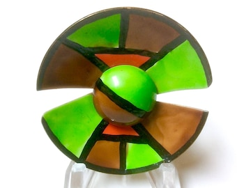 Vintage Signed ORIGINAL by ROBERT Enamel Modern Circle Pin Brooch Green Brown and Orange