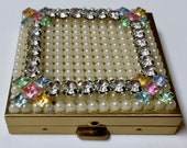 Vintage Powder Compact Jeweled Multi Color Rhinestones Faux Pearls Petite Bling