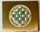 Vintage Original Box Wiesner of Miami Powder Compact Faux Pearls Aqua Rhinestones Original Felt Pouch