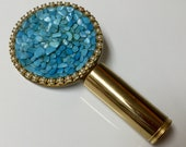 Vintage Fold Up Lipstick Tube and Mirror Turquoise Chips Gold Tone Round