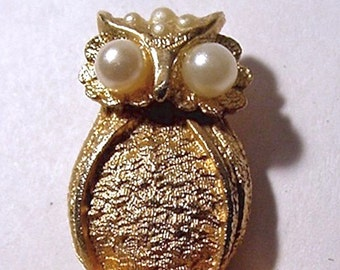 Vintage Tiny Hobe Owl Perched on Branch Pendant Faux Pearl Eyes Accented