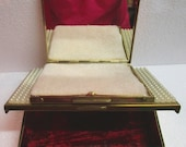 Unusual Vintage Combination Trinket Box and Powder Compact Pearls Red Velvet