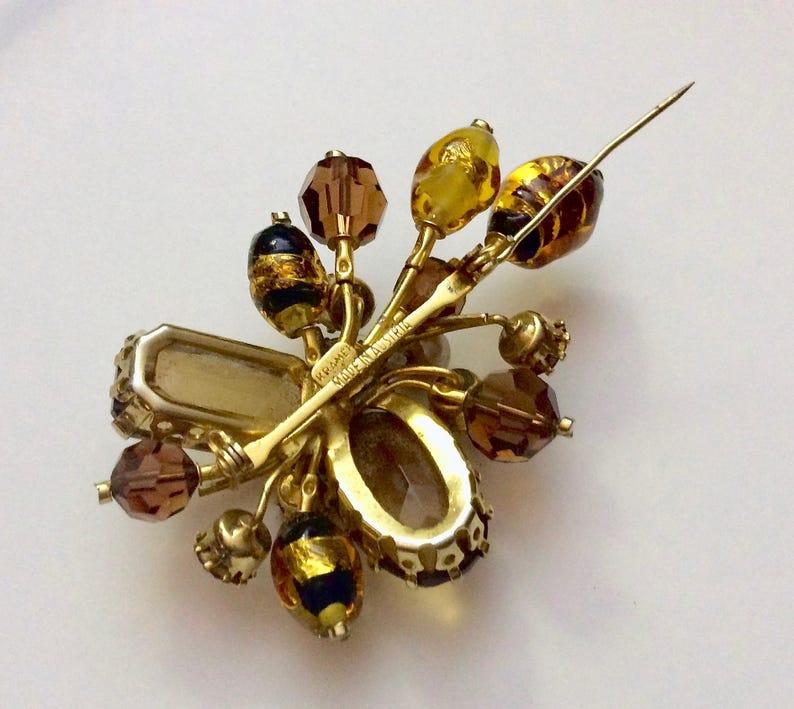 Fantastic Vintage Signed Kramer and Made in Austria Topaz Gripoix Foil Art Glass Brooch Pin Rhinestones Huge