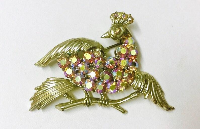 e1e76470a51 Outstanding Vintage Signed Coro Aurora Borealis Peacock Bird   Etsy