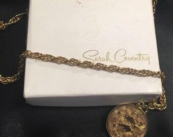 Vintage Sarah Coventry Pisces Charm Necklace Pisces Zodiac Original Box 1960's
