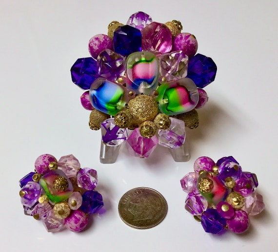 Vintage 1950s Western Germany Purple Red and Gold Plastic and Glass Round Beaded Brooch and Earrings Set Blue Green