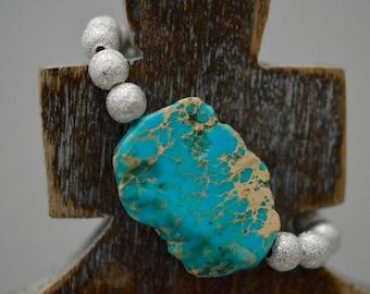Turquoise Stone Bracelet - Raw Stone Bracelet - Raw Stone - Blue Silver Bracelet - Gift for Her - Silver Beaded Bracelet - Boho Bracelet