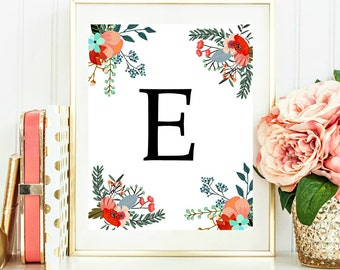 Custom Monogram Printable Nursery Personalized Initial Poster Printable Flower Nursery Decor Digital Download