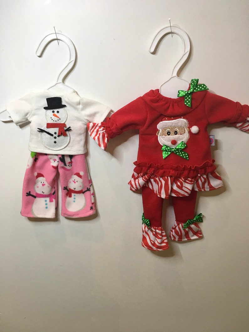 Christmas Outfits.Christmas Outfits For 14 Inch Dolls Such As Wellie Wisher Handmade Doll Clothes Snowman T Shirt Pants Santa Candy Cane Outfit