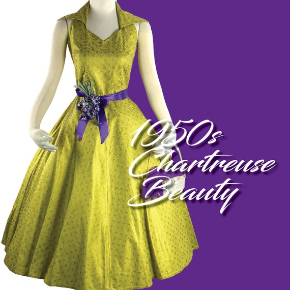 Vintage 1950s Chartreuse Glazed Cotton Dress - 50s