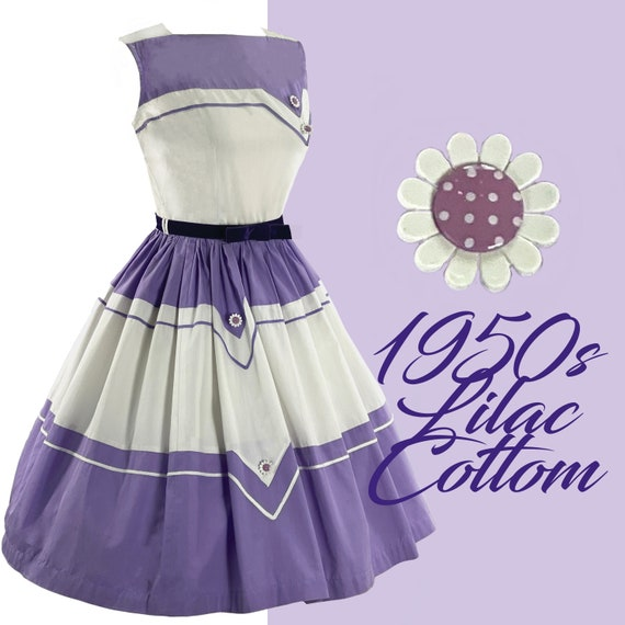 Vintage Late 1950s Purple and White Cotton Dress -