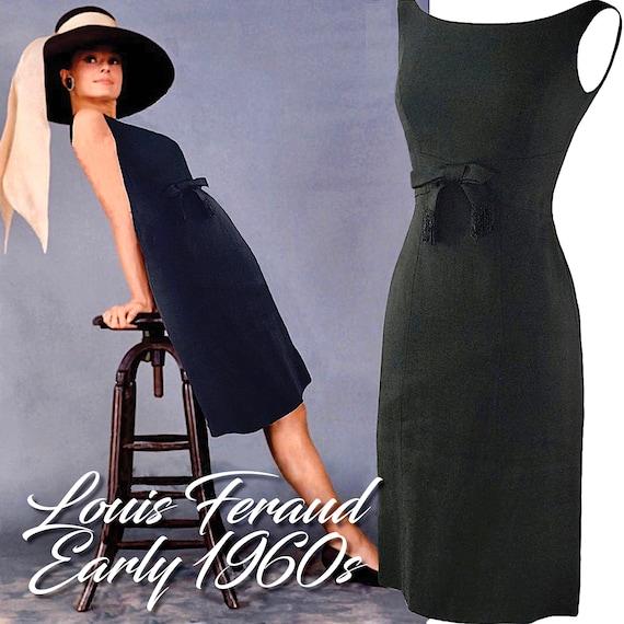 Vintage Early 1960s Black Designer Dress - 60s Lou
