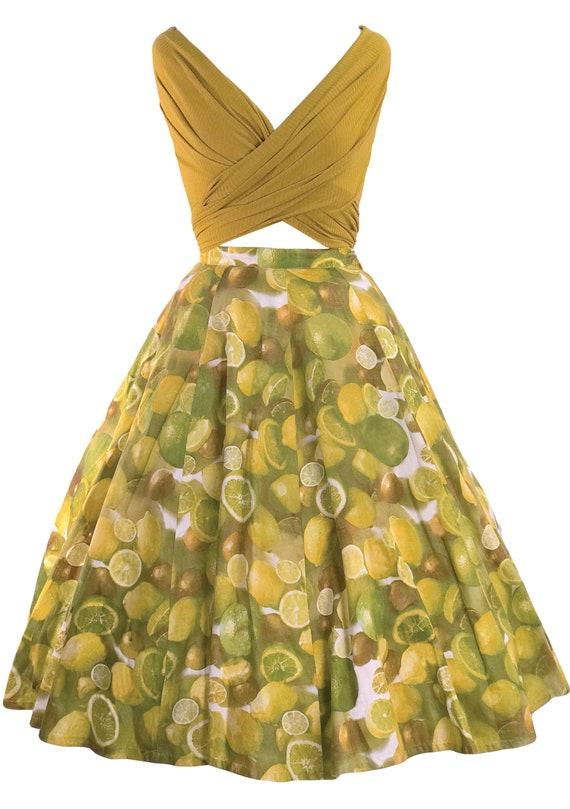 Vintage 1950s Lemons & Limes Print Skirt - 50s Nov