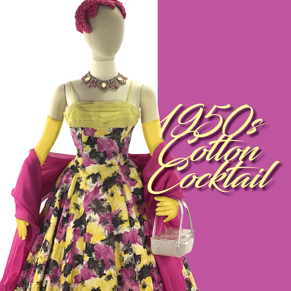 1950s Rose Pink and Yellow Abstract Floral Cocktai