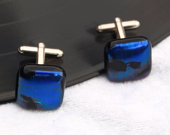 Gorgeous Blue & black Dichroic fused glass cufflinks - Would make a great wedding / birthday / anniversary present / gift comes gift boxed