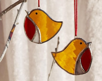 Stained glass Robin red breast decoration, teacher gifts, Bird lover gift, bird glass art, Christmas, bauble tree decor