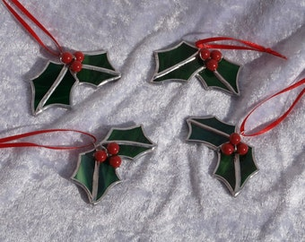 3x, traditional christmas decoration, glass tree ornament, Christmas tree decoration, stained glass holly, traditional bauble
