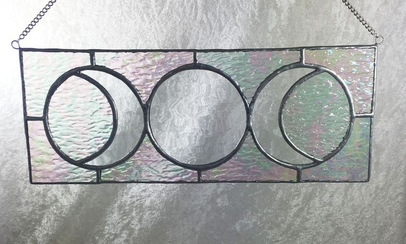 lunar phases stained glass lunar Moon full moon crescent moon celestial la luna moon phases sun catcher moon art glass moon
