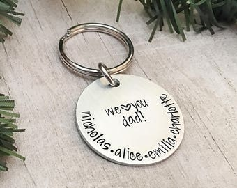 Personalized Name Keychain for Dad - Dad Keychain with Kids Names - Father's Day Gift from Kids - Personalized Dad Keychain