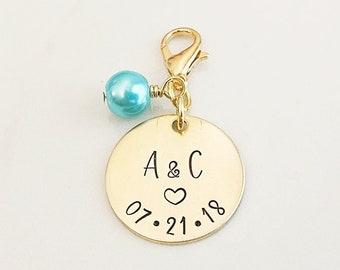 Something Blue Bouquet Charm for Bride - Personalized Bridal Bouquet Charm - Something Blue for Bride - Flower Bouquet Charm