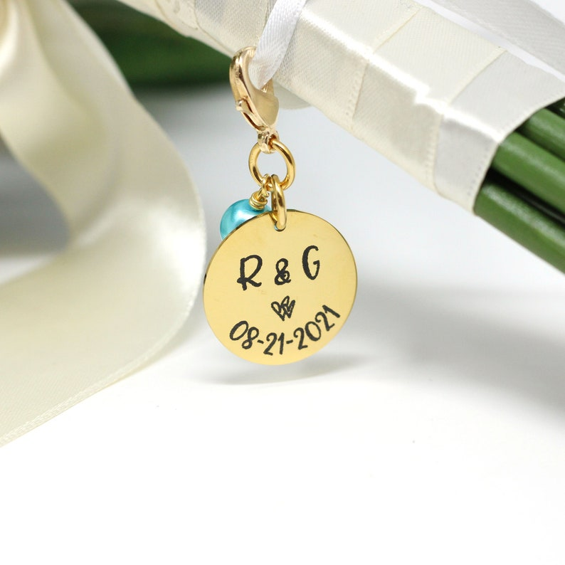 Something Blue Bouquet Charm for Bride  Personalized Bridal image 0