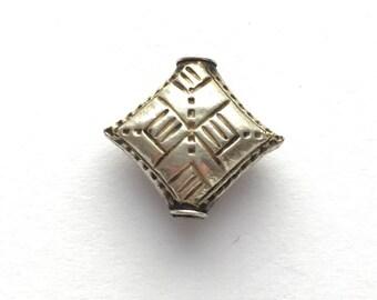 Thai/Khmer Silver Basket Weave Diamond Vintage Bead 15mm