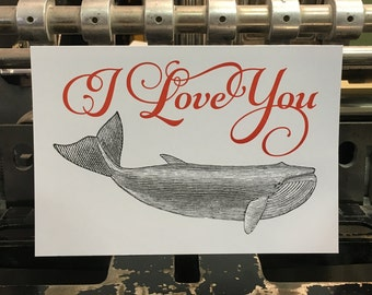 "Carte postale Baleine ""I Love You"""