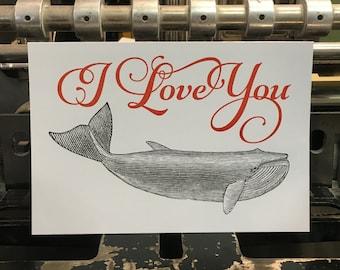 "Card mailing whale ""I Love You"""