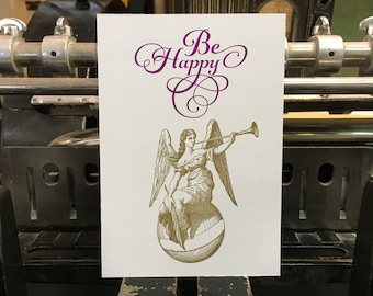 "Carte postale ange ""Be Happy"""